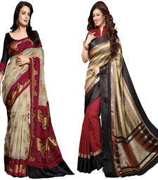 Buy Multicolour bhagalpuri silk saree with blouse sarees-combo-sari online