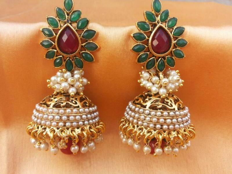 Buy Aashiqui 2 Earrings Pretty Polki With Pearls Jhumka Online
