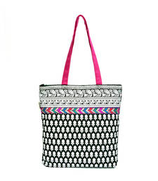 Buy Black and white printed tote with multi colored lace tote-bag online