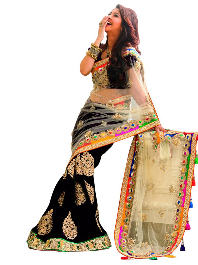buy blackembroidery workchiffon and netfashionsaree