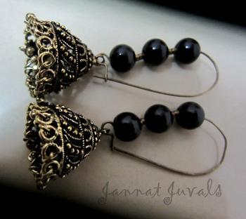 Elegant black beaded jhumka