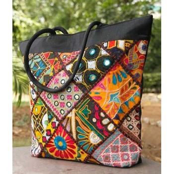 Kutch Mirrorwork Silk Handbag- Black