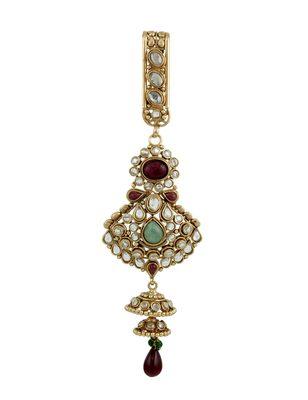 Red Green Polki Stones Juda Key Chain Jewellery for Women - Orniza