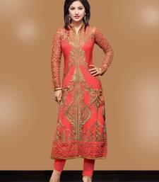 Buy Peach Georgette embroidered semi stitiched salwar with dupatta party-wear-salwar-kameez online