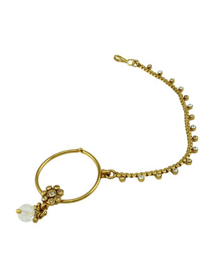 Golden Beige Polki Stones Nose Ring Nath Jewellery for Women - Orniza