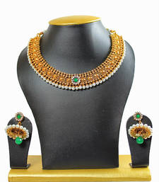 Buy Green Kundan Gold Plated Strand Necklace With Earings  For Women necklace-set online