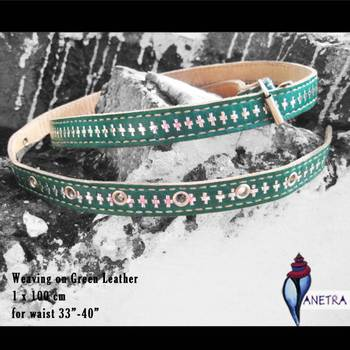 green silver leather belt