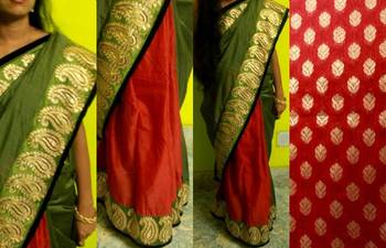 Bottle green and red bridal saree