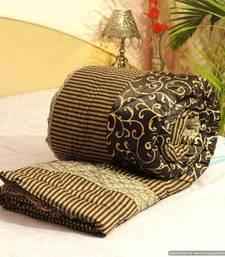 Buy Cotton Stuffed Gold Print Premium Jaipuri Razai In Silk -27 quilt online