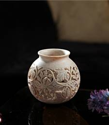 Buy Round carved stone vase pot online