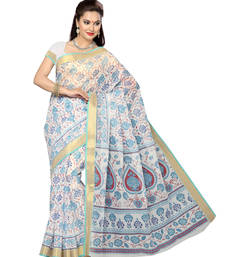 Buy off white printed cotton saree with blouse below-500 online