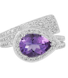 Buy Silver Amethyst And Cubic Zirconia Ring Crafted Ring online
