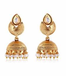 Buy Gold Finishing Ethnic White Kundan Designer Jumki hoop online