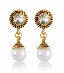Buy White Stone Gold Finishing Round Shape Design Earrings hoop online