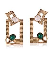 Buy Stylish Dangle Designer Party Wear Green Gold Finishing Earrings hoop online