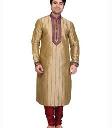 Buy beige polysilk maroon poly silk resham kurta pyjama gifts-for-dad online