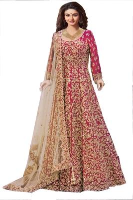 Red silk embroidered unstitched salwar with dupatta