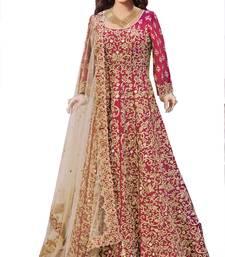 Buy Red silk embroidered unstitched salwar with dupatta anarkali-salwar-kameez online
