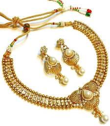 Buy Divinique  Pearl Polki Necklace set necklace-set online