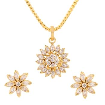 White cubic zirconia yellow gold pendants