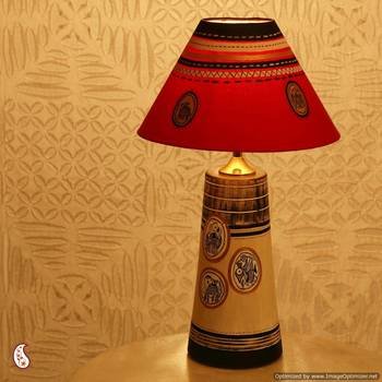 An Elegant Hand painted Lampshade  in Terracotta
