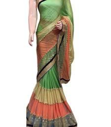Buy multicolor plain lycra saree with blouse ombre-saree online