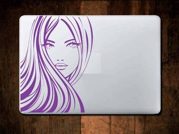 Woman face laptop decal