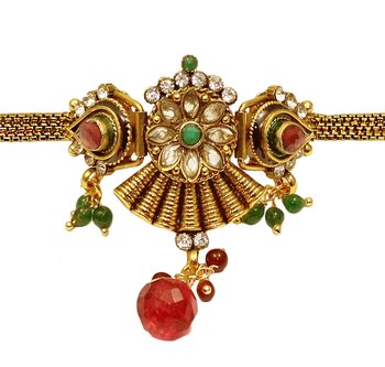 Traditional Green Red Copper Bajuband For Women
