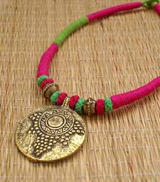 Buy pink green thread choker necklace-set online