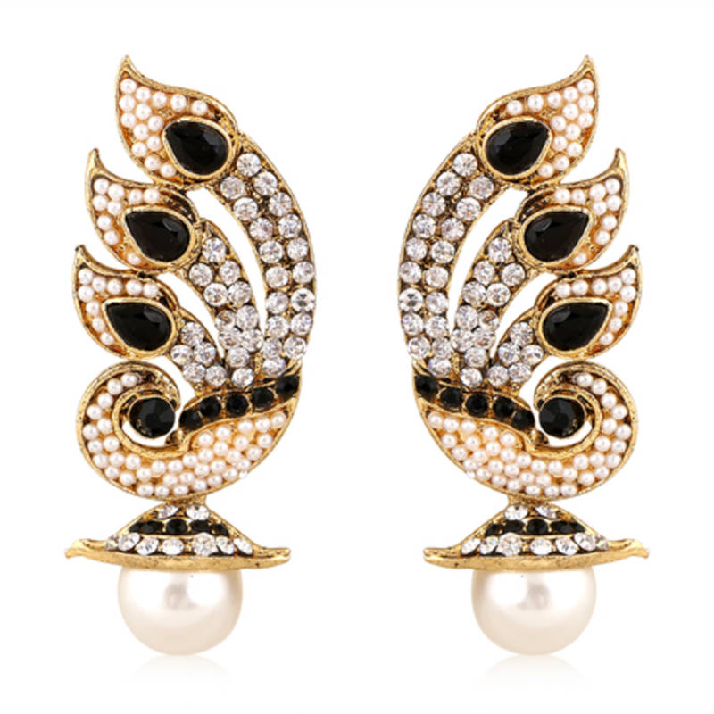 Buy Best Selling Black Stone with Pearl Earring Online
