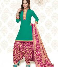 Buy Green printed Cotton unstitched salwar with dupatta punjabi-suit online