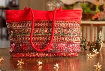 Silk Embroidered Purse/Handbag- Red