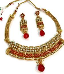 Buy Divinique Copper Red pearl polki choker necklace set necklace-set online