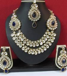 Buy Two Side Brooch Dark Blue stone Wedding Necklace set necklace-set online