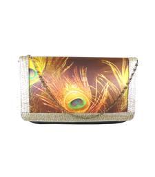 Buy Digital Mor Pankh Clutch (Brown) clutch online