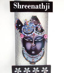 Buy Key holder decorative and wooden and handcrafted with god photo shreenathji wall-art online