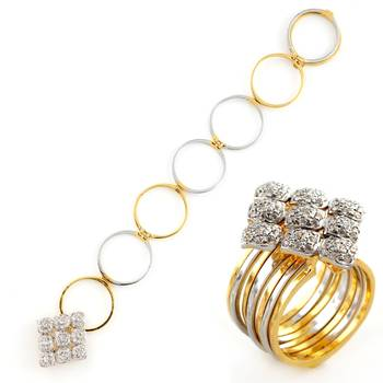 Stunning Golden And Silver Plated Ring Cum Bracelet With American Diamonds