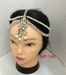 Buy Exclusively Design 2 Line Matha Patti For Wedding Gold Finishing with Pearl and Stone in White hair-accessory online