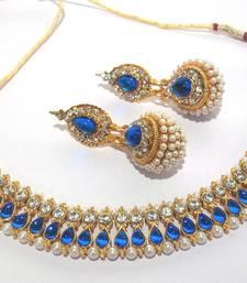 Buy Dark blue pearl gota neckalace set necklace-set online