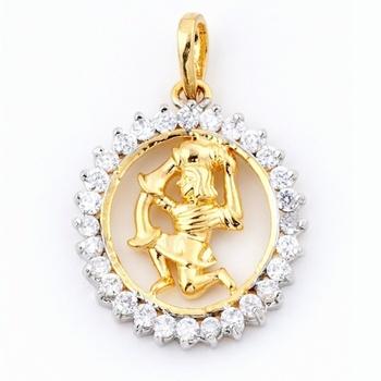 Aquarius Silver Pendant With American Diamonds_11