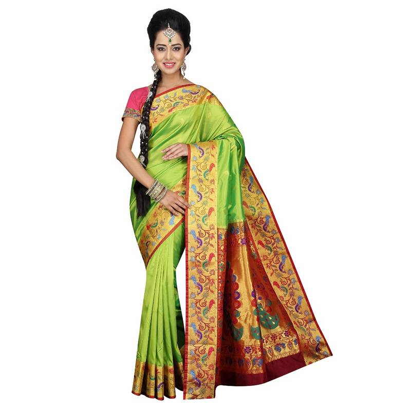 Buy Pea Green Traditional Paithani Sarees Online