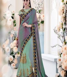 Buy multicolor embroidred net saree with blouse one-minute-saree online