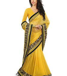 Buy yellow embroidered viscose Saree heavy-work-saree online