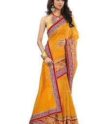 Buy yellow embroidered chanderi Saree chanderi-saree online