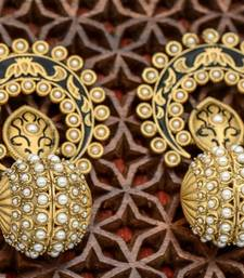 Buy Pearl/Stone Studded Royal Antique Earring danglers-drop online