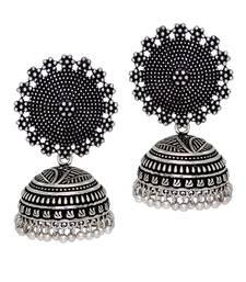 Buy Oxidised Silver Plating handmade Jhumka Earrings jhumka online