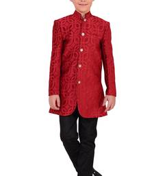 Buy Maroon wooven fabric for kids boys-indo-western-dress online