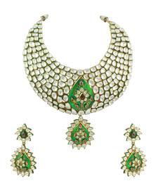 Buy Green Jadau Kundan Necklace Set Jewellery for Women - Orniza necklace-set online
