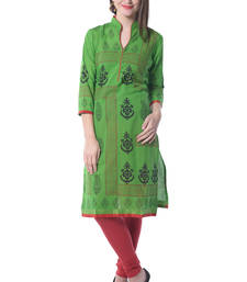 Buy Green block print cotton kurti kurtas-and-kurtis online