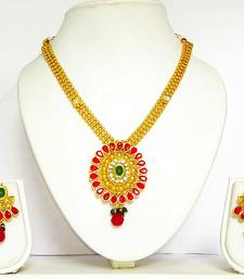 Buy Yellow gold plated cubic zirconia necklace sets necklace-set online
